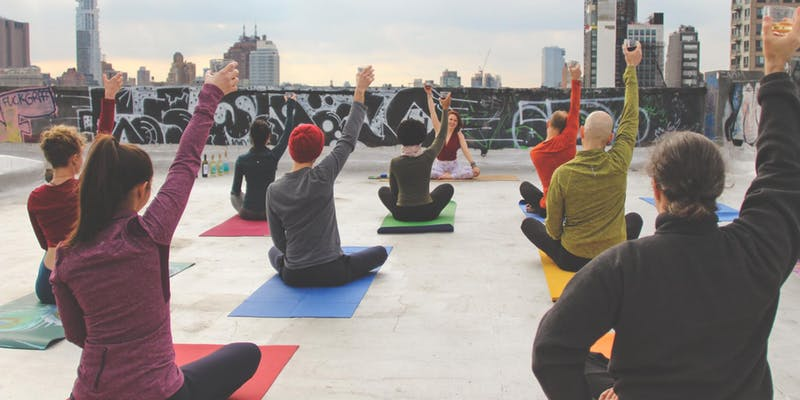 Drunk Yoga on the Our Wicked Lady Rooftop