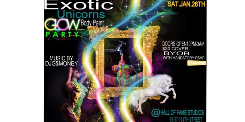 Exotic Unicorns - Glow Body Paint Party Part 1
